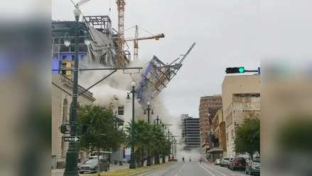 El impactante momento en que un hotel en construcción se derrumba en Nueva Orleans [VIDEO]