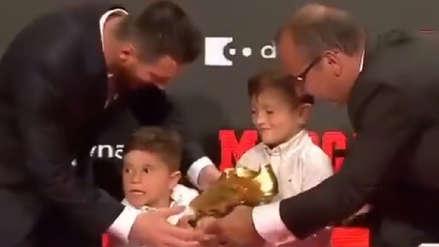 Lionel Messi protagonizó divertido momento junto a su hijo Mateo al recibir su sexta Bota de Oro