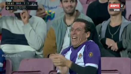 Barcelona vs. Valladolid: hincha visitante se 'robó' las cámaras por su efusiva celebración en el Camp Nou