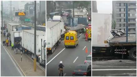Quíntuple choque de camiones dejó al menos seis heridos y generó congestión en la Panamericana Sur