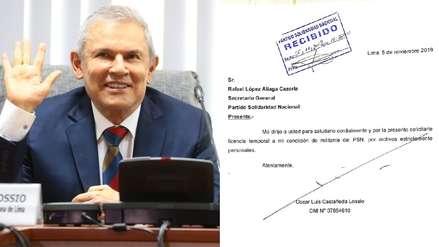 Luis Castañeda Lossio solicitó licencia temporal como militante de Solidaridad Nacional