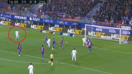 Benzema anotó el primer gol de Real Madrid ante Eibar tras zurdazo en primera
