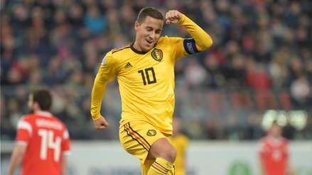 ¡Imparable! Eden Hazard anotó un doblete en el partido de Bélgica y Rusia por las Eliminatorias de la Eurocopa
