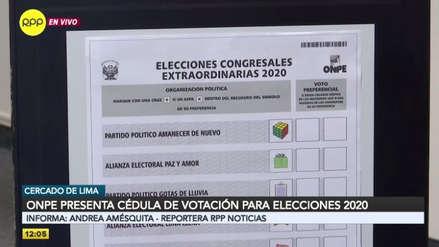 ONPE presentó el diseño de la cédula de sufragio de las elecciones 2020 [VIDEO]
