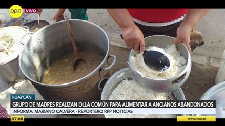 Un grupo de madres realiza olla común para alimentar a ancianos abandonados en Huaycán [VIDEO]