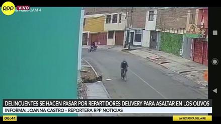 Los Olivos: delincuentes se hacen pasar por repartidores para asaltar a transeúntes [VIDEO]