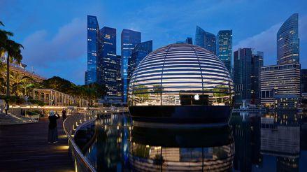 Así es la impresionante tienda flotante de Apple en Singapur