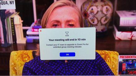 La intervención de Hillary Clinton en un canal estadounidense fue interrumpida por una alerta de Zoom