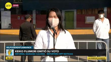 Keiko Fujimori: Invoco a la población a que acuda a votar y a los candidatos a evitar las aglomeraciones