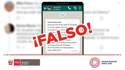 El Minsa desmiente una cadena de WhatsApp que aseguraba fechas de vacunación de personas de 50 y 40 años
