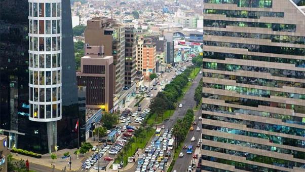 Vista panorámica del Centro Financiero de Lima.