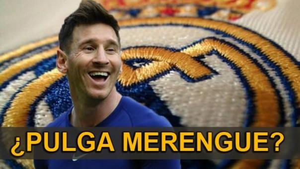 Lionel Messi en una camiseta del Real Madrid