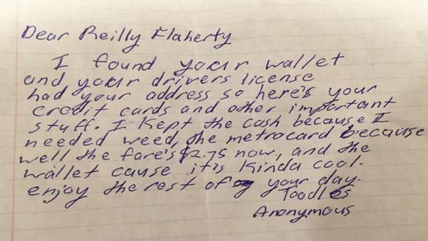 Perdió su billetera y recibió una graciosa carta de un 'buen samaritano'