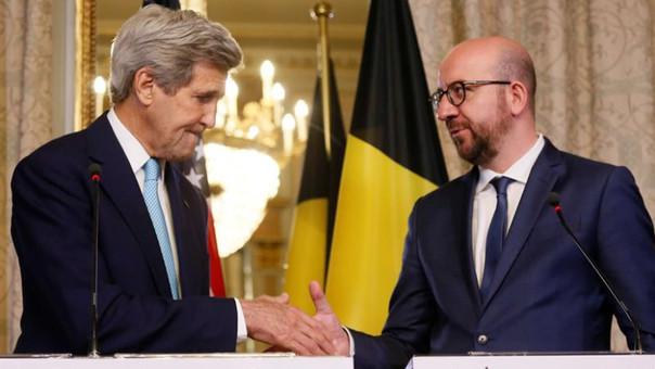 El primer ministro del Gobierno federal belga, Charles Michel se reunió con el secretario de Estado de Estados Unidos, John Kerry