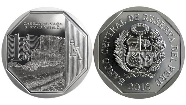 Nueva moneda de 1 sol alusiva a la zona arqueológica Cabeza de Vaca.