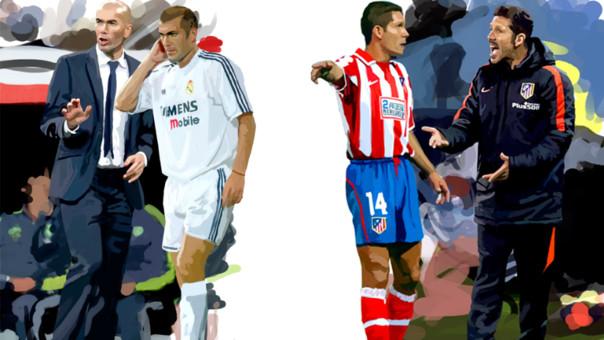 Zidane fue ídolo como jugador del Real Madrid. Simeone lo fue del Atlético. Hoy ambos pueden llegar a la cima de sus carrera como técnicos con los mismos clubes.