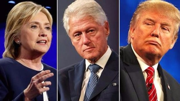 Hillary Clinton, Bill Clinton y Donald Trump