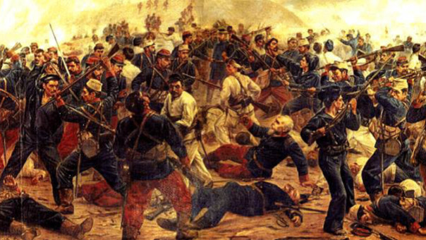 Pintura que representa el sacrificio heroico de Francisco Bolognesi