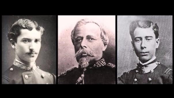 Francisco Bolognesi y sus hijos Enrique (izquierda) y Augusto (derecha). Ambos pelearon en la Guerra del Pacífico y murieron por heridas sufridas en la Batalla de Miraflores.