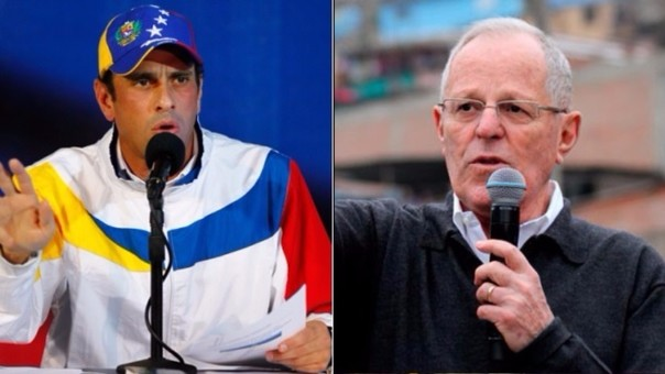 Henrique Capriles y PPK se saludaron tras la victoria de este en las elecciones presidenciales del Perú