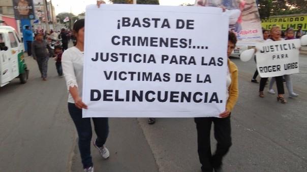 Protesta por la seguridad ciudadana en Ica.