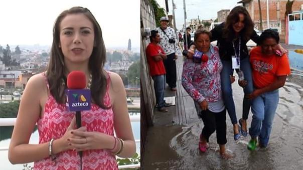 Corresponsal de TV Azteca es cargada para evitar que se moje en inundación