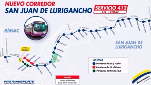 La ruta del corredor SJL-Rímac recorre 16 kilómetros.