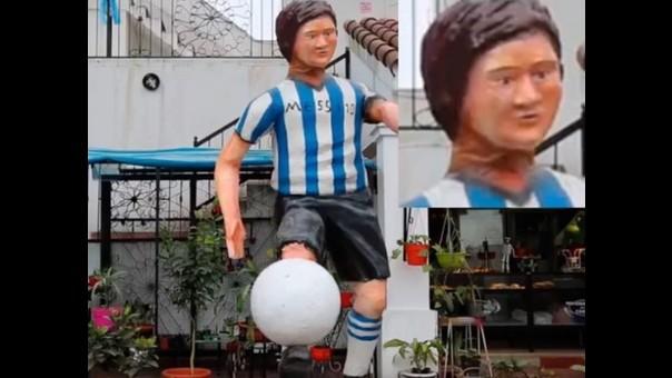 La horrible estatua de Lionel Messi que hicieron unos hinchas.