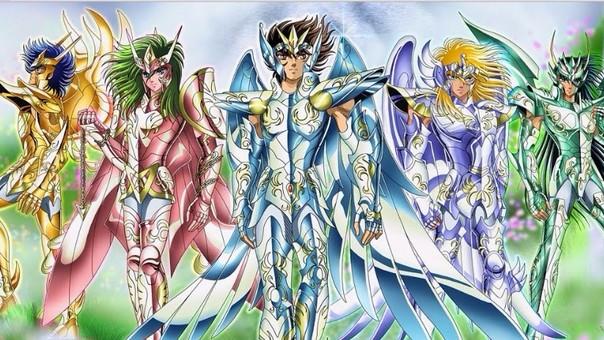 Seiya y sus amigos con armadura Divina