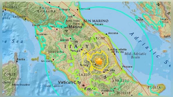 El sismo se sintió en todo el centro de Italia