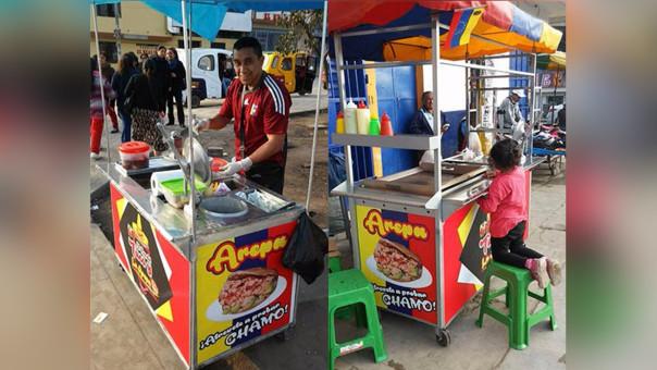De Barquisimeto a Villa el Salvador. Emilio Rodríguez vendiendo sus arepas con la camiseta vinotinto de la selección de fútbol venezolana. ¡Atrévete a probar Chamo! se lee en su carrito arepero.