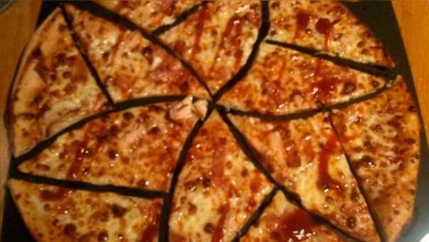 Demostración de la técnica en una pizza de verdad.