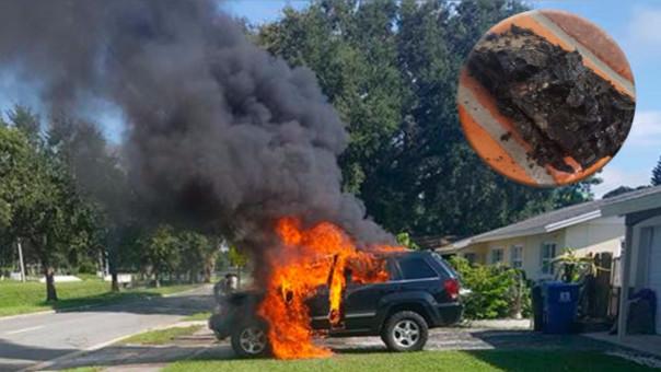 El auto se incendió luego de que el móvil explotó.