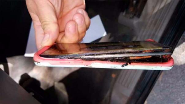 El Samsung Galaxy Note 7 de reemplazo que quemó el brazo de una adolescente.