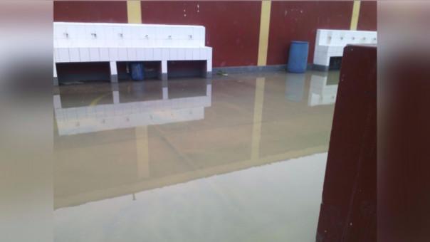 El patio inundado