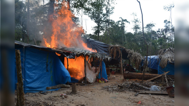 Destrucción de insumos para la minería ilegal en la Reserva Nacional de Tambopata.