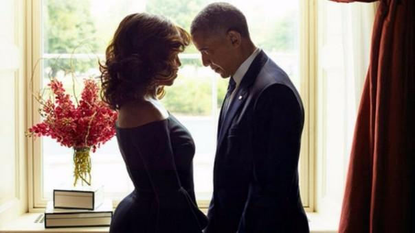 Michelle y Barack Obama en una de sus últimas sesiones de fotos como presidentes.