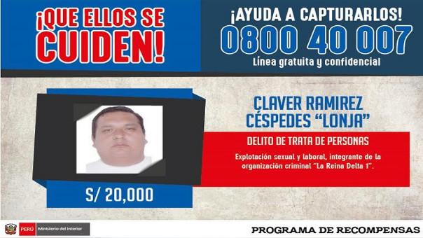 Se ofrece 20 mil soles para que informe sobre el paradero de Claver Ramírez Céspedes