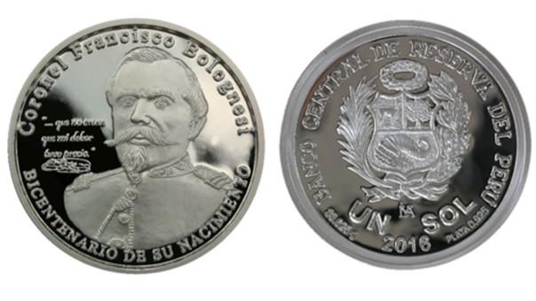 BCR lanza moneda en homenaje al bicentenario del nacimiento de Francisco Bolognesi.