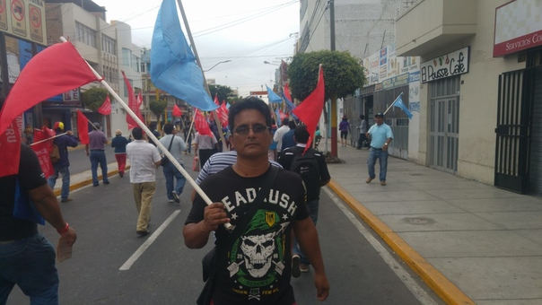 Protesta de ex trabajadores de Siderperú