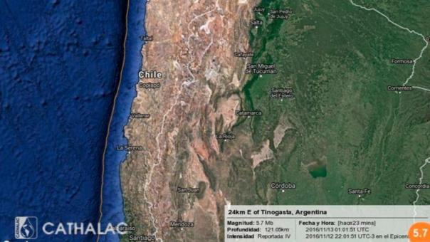 Temblor de magnitud 5,7 sacude Argentina