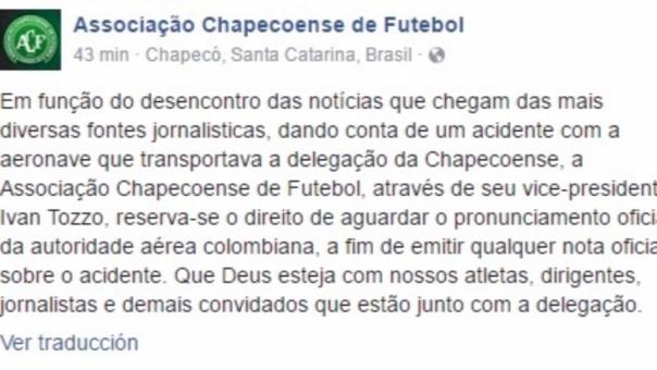 El comunicado en la cuenta oficial del Chapecoense.