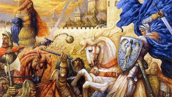 Así imaginó el pintor contemporáneo Petar Meseldžija al Rey Arturo en su reino.