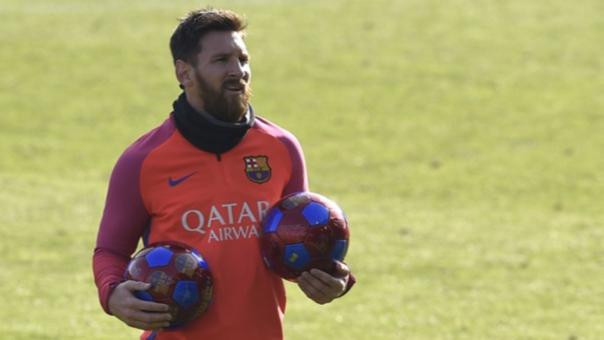 Lionel Messi durante un entrenamiento con Barcelona.