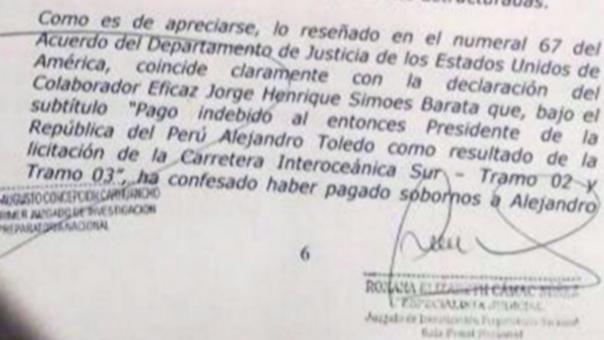 El documento que vincula a Toledo con los sobornos de Odebrecht.