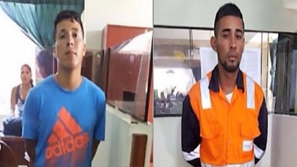 César Augusto Corvetto  (29), y Nazaret Bryam Vidarte (27), los delincuentes detenidos.