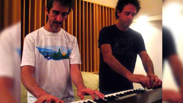 Tweety González en una sesión de ensayo junto a Gustavo Cerati