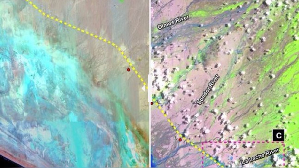 La ruta de la Carretera Panamericana Norte está trazada en las líneas amarillas.