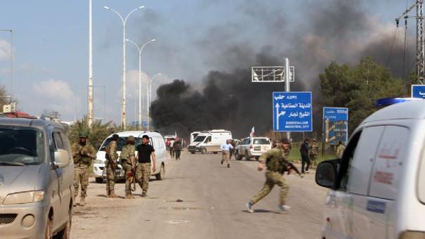 Según el grupo Liberación del Levante, el coche bomba estaba cargado con metralla y explosivos, y fue detonado