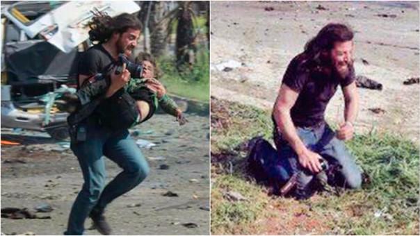 Así fue el rescate del fotógrafo tras la explosión de un cochebomba.       | Fuente Twitter  @oamaz7